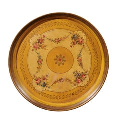 French Circular Painted Tole Tray with Floral Motifs from the 19th Century