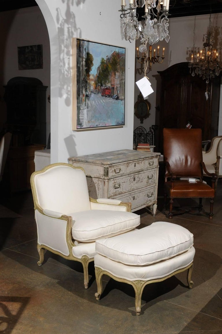 Louis Xv French Berg 232 Re Chair And Ottoman From The 18th