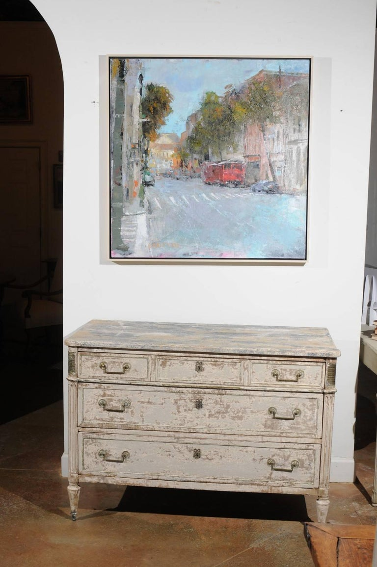 French Neoclassical 1810 White Painted Three-Drawer Commode with Bronze Mounts In Good Condition For Sale In Atlanta, GA