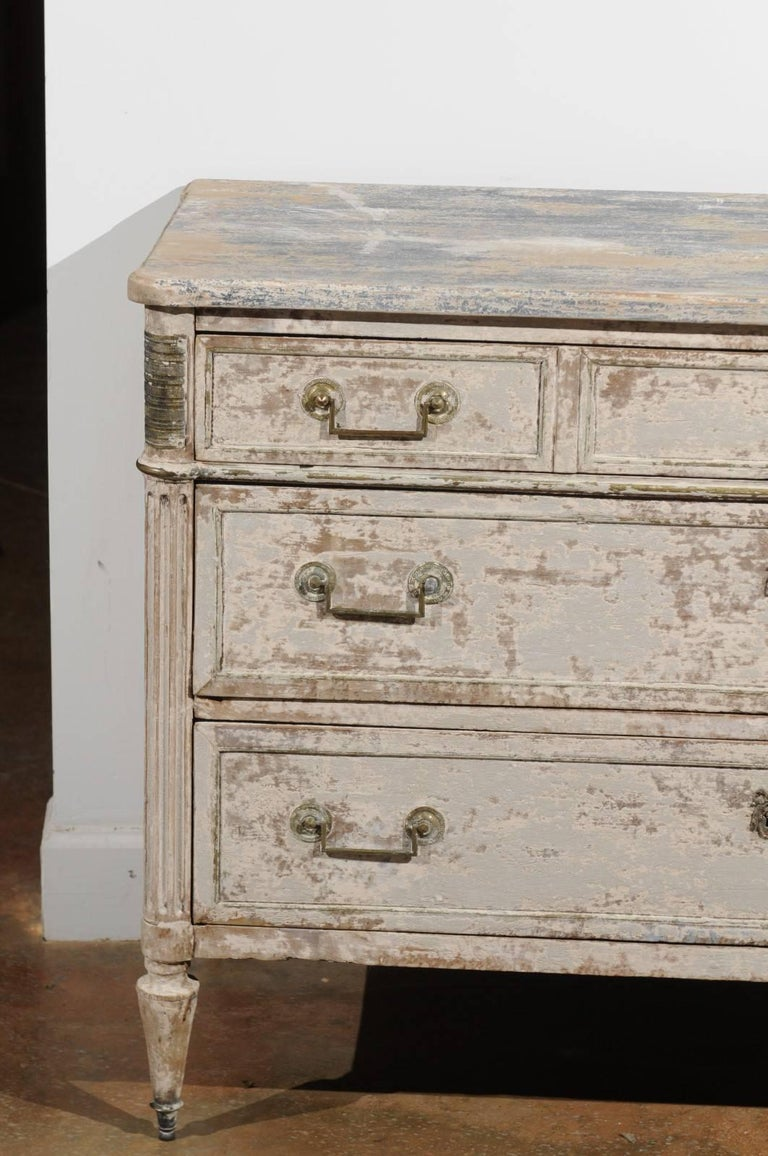 19th Century French Neoclassical 1810 White Painted Three-Drawer Commode with Bronze Mounts For Sale