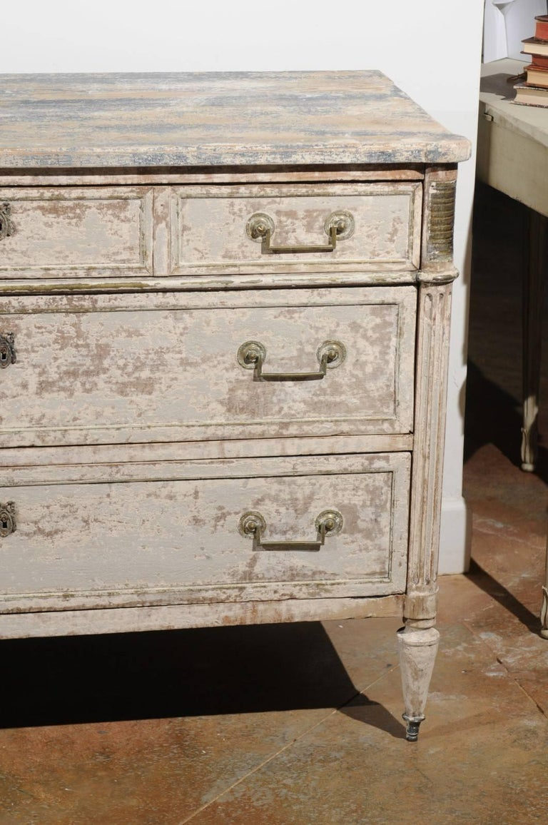 Wood French Neoclassical 1810 White Painted Three-Drawer Commode with Bronze Mounts For Sale