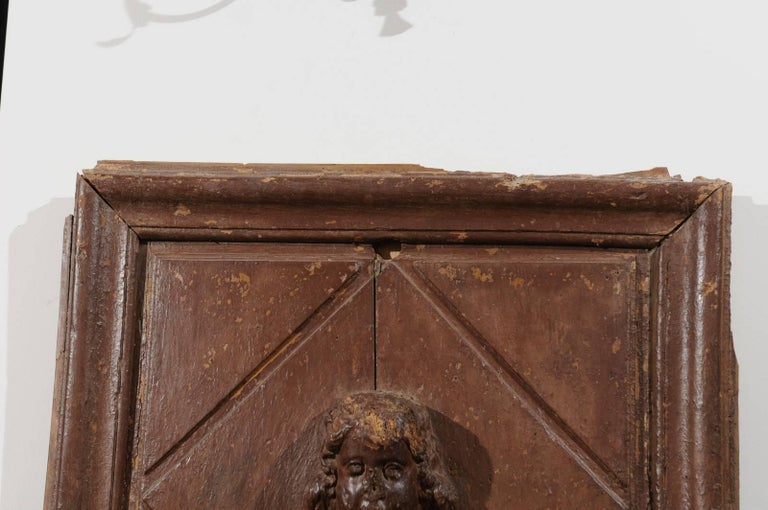 Baroque Pair of French 17th Century Wooden Panels with High-Relief Carved Cherubs For Sale