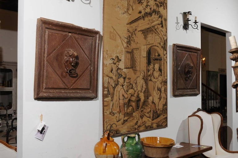 18th Century and Earlier Pair of French 17th Century Wooden Panels with High-Relief Carved Cherubs For Sale