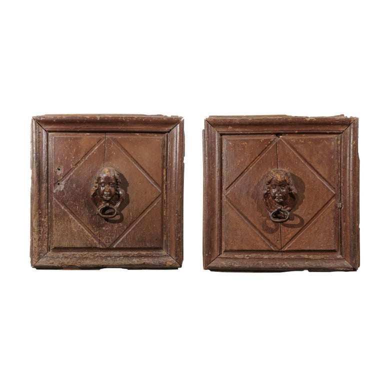 Pair of French 17th Century Wooden Panels with High-Relief Carved Cherubs