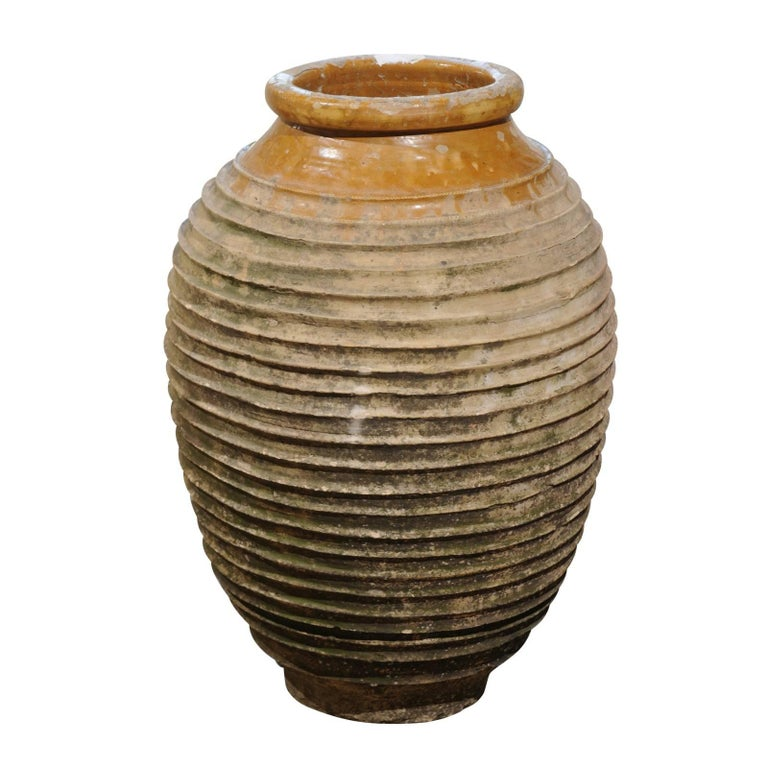 Early 19th Century Medium Size Greek Terracotta Olive Jar with Yellow Glaze For Sale
