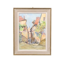French Framed 19th Century Watercolor Depicting Women in Traditional Costumes