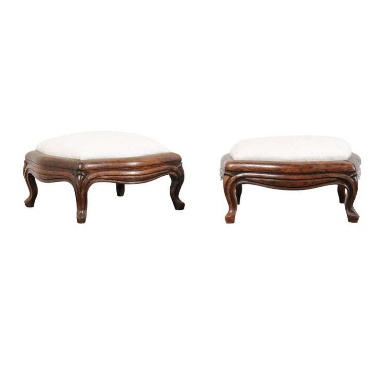 Pair of 19th Century French Louis XV Style Walnut Upholstered Footstools