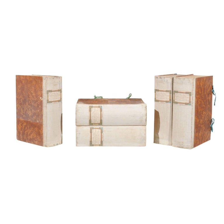 Five Vintage Faux-Book Decorative Boxes from an Italian Winery, circa 1940