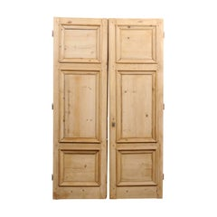 Pair of 19th Century French Haussmannian Wooden Doors with Molded Panels