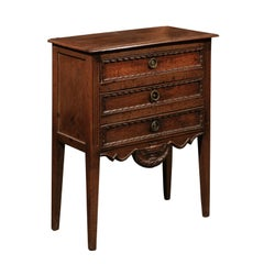 Petite French Three-Drawer Oak Commode with Carved Skirt and Ribbons, circa 1850