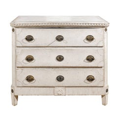 1810s Swedish Gustavian Period Painted Commode with Dentil Molding and Rosettes