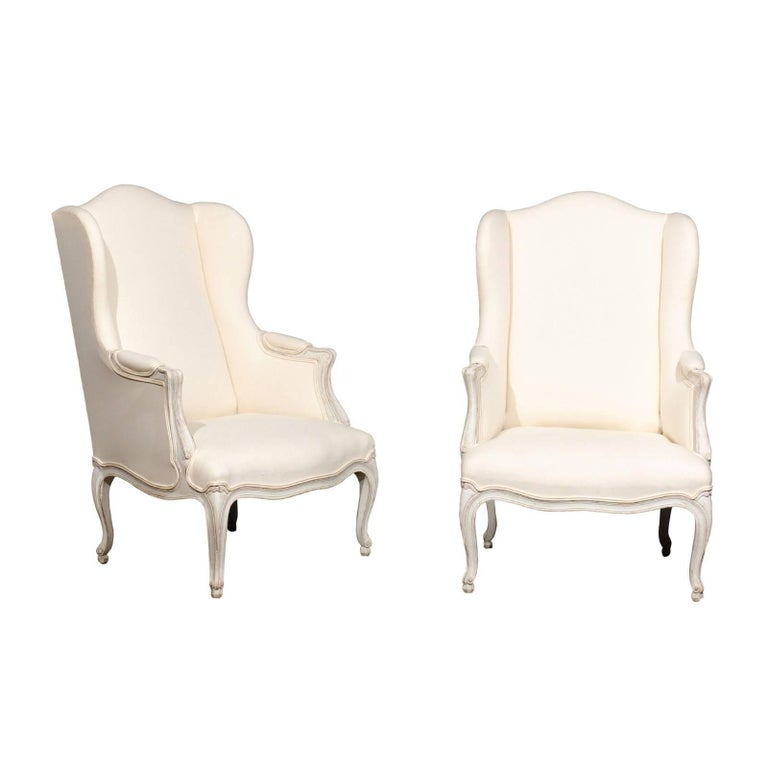 Pair of Swedish Rococo Style 1900s Wingback Bergère Chairs with New Upholstery