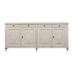 Swedish 1880s Gustavian Style Sideboard with Diamond Motifs, Doors and Drawers