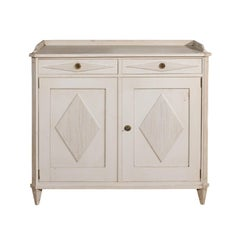 Swedish Gustavian Style Painted Wood Sideboard with Diamond Motifs, circa 1890