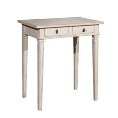 Swedish 1860s Gustavian Style Painted Side Table with Drawers and Tapered Legs