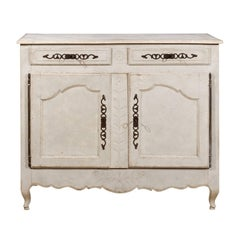 Mid-18th Century French Louis XV Period Painted Buffet with Drawers and Doors