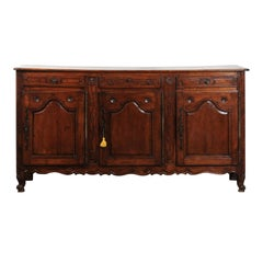 French 1750s Louis XV Cherry Enfilade from Picardy with Three Drawers and Doors