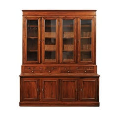Louis-Philippe Style 1890s Walnut Bibliothèque with Glass Doors and Drawers