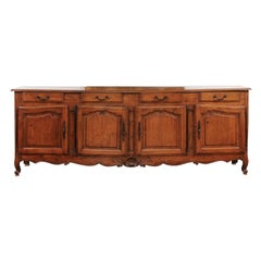 French Louis XV Style Walnut Four-Drawer over Four-Door Enfilade, circa 1890
