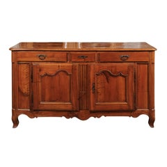 French 1840s Louis XV Style Walnut Double-Sided Buffet with Drawers and Doors