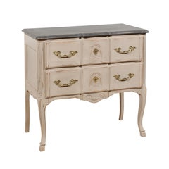 French Louis XV Style 1910s Grey Painted Commode with Bronze Rococo Hardware