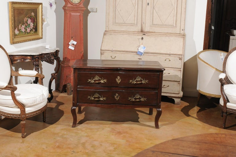 French Louis XV Period 1740s Cévenole Fruitwood Commode with Bronze Hardware In Good Condition For Sale In Atlanta, GA