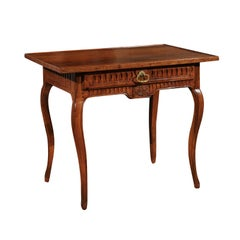 Southern French Transitional Walnut Side Table with Grooved Motifs, circa 1770
