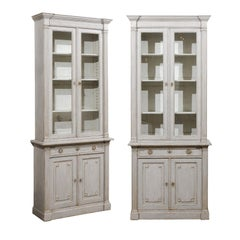 French Neoclassical Style 19th Century Grey Painted Bookcases with Glass Doors