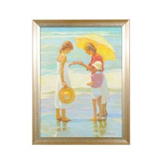 Friends, Don Hatfield Framed Contemporary Vertical Figurative Beach Oil Painting