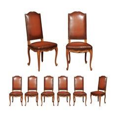 Set of Eight French Louis XV Style 19th Century Walnut and Leather Dining Chairs