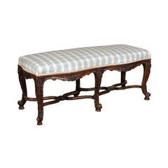 French Régence Style 19th Century Upholstered Wooden Bench with Carved Foliage
