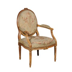 French Louis XVI Period 18th Century Armchair with Floral Tapestry Upholstery
