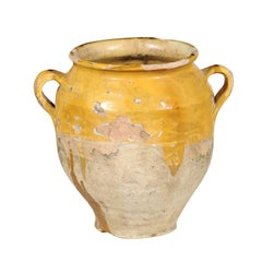 Southern French Yellow Glazed Terracotta Confit Pot with Two Handles, circa 1850
