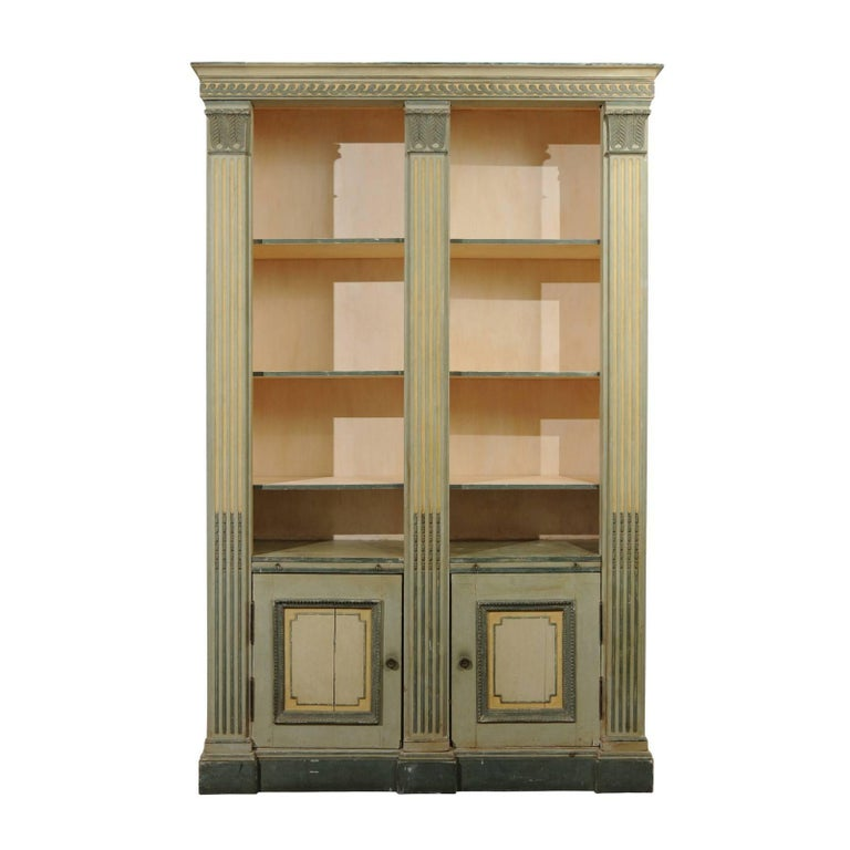 French Maison Jansen Louis XVI Style Painted Bookcase with Lotiform Pilasters
