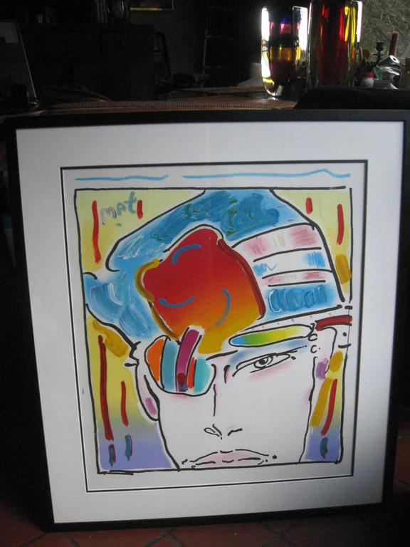 "Original acrylic on paper  H32""x W28"" Framed.. Given by Peter Max to a friend"