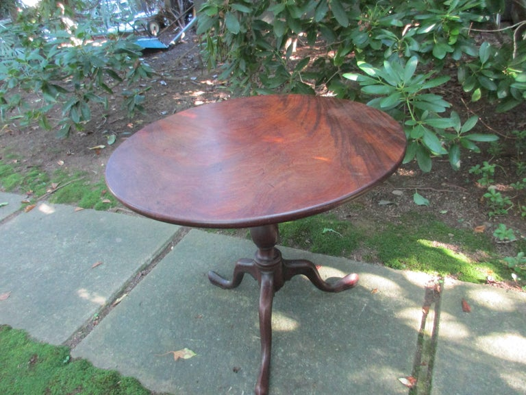 Georgian 18thc Tilt Top Breakfast/Game Table Top Made of one Solid Piece of Mahogany.-very good vintage patina