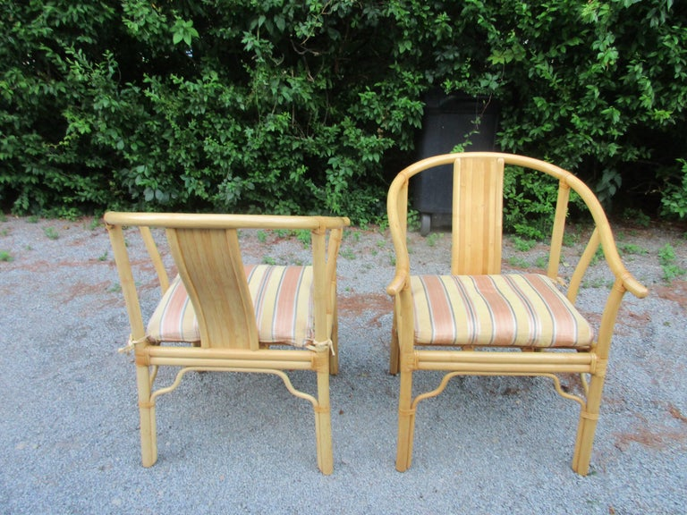 Four Vintage Bamboo Armchairs with Custom Cushions In Excellent Condition For Sale In Water Mill, NY