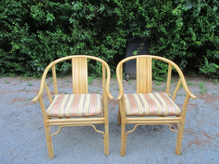 20th Century Four Vintage Bamboo Armchairs with Custom Cushions For Sale