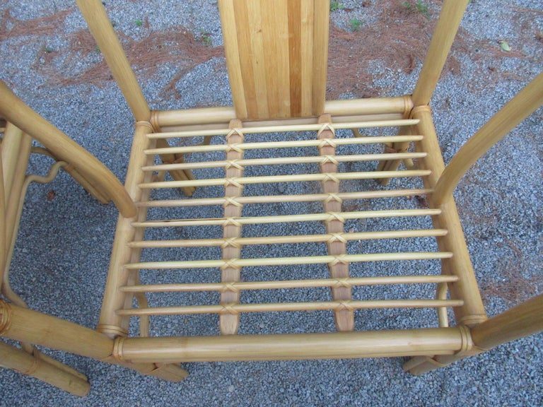 Four Vintage Bamboo Armchairs with Custom Cushions For Sale 1