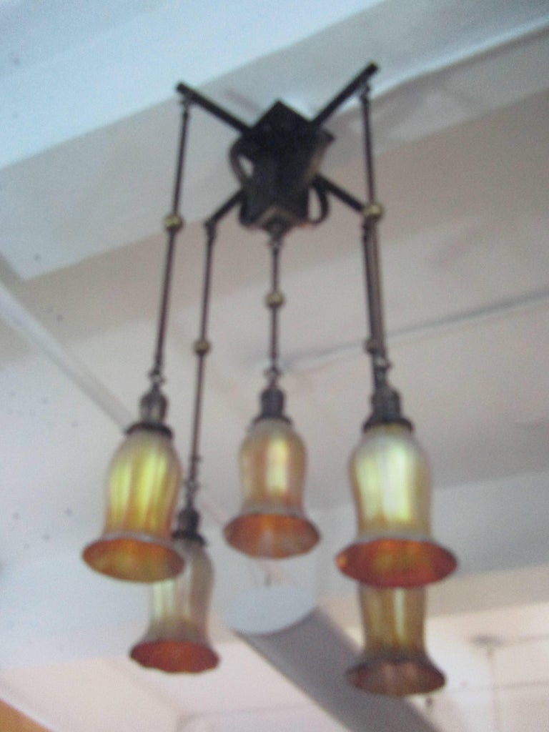 Early 20th Century Art Nouveau Quezal and Brass Flush Mount Chandelier For Sale