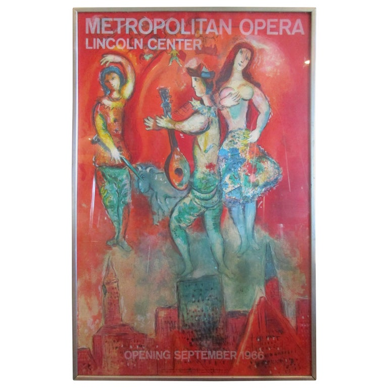 Marc Chagall 1960s Metropolitan Opera Original Lithograph Poster