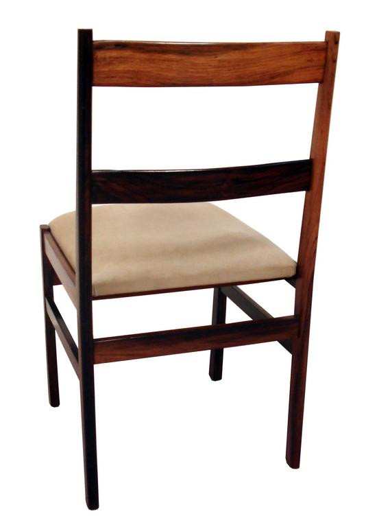 Brazilian Vintage 1970s Suede Upholstered Jacarandá Dining Chair For Sale
