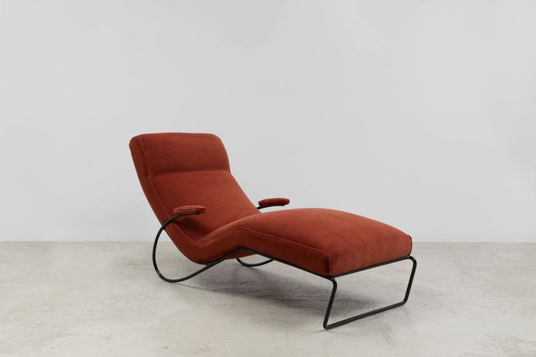 Vintage chaise in metal frame and velvet seating,  circa 1950s.