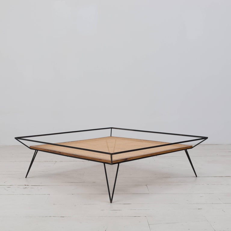 Mid-Century Modern Vintage 1950s Cane and Metal Coffee Table by Martin Eisler and Carlo Hauner For Sale