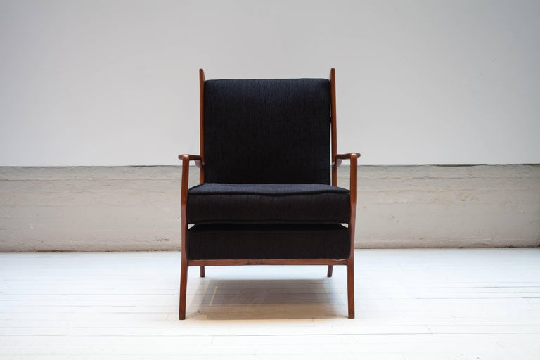 Mid-20th Century Pair of Rare Vintage 1960s Rino Levi Armchairs For Sale
