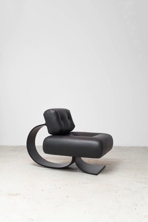 Leather Alta Chair and Ottoman by Oscar Niemeyer For Sale