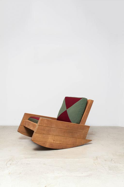 A Rocking Chair Made Of Reclaimed Peroba Rosa Wood Or Itauba Preta, With A  Wax
