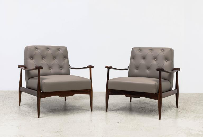 Pair of vintage armchairs designed by 'Liceu de Artes e Ofícios' in the 1950s. Made of jacaranda wood and leather upholstery.