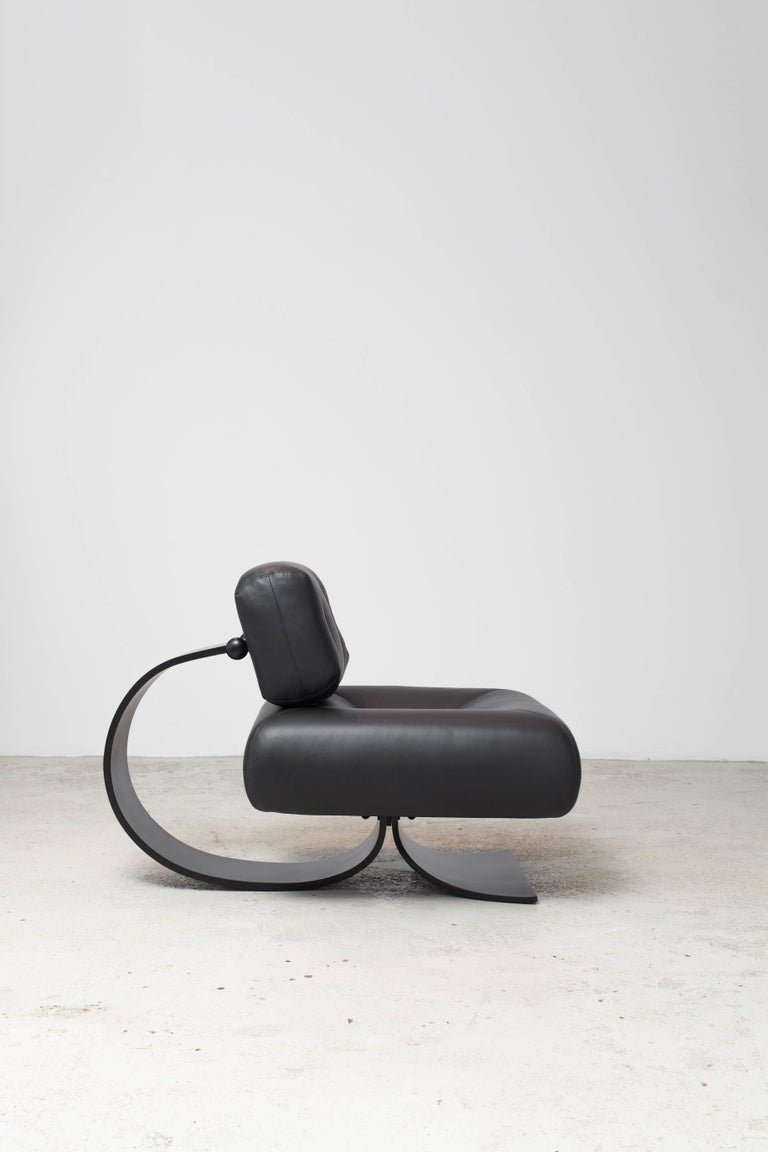 "Alta chair and ottoman set designed by Oscar Niemyer was the first piece of furniture the legendary architect designed, along with his daughter Anna Maria Niemeyer, in 1971. The ""Alta"" lounge chair is a great example of Niemeyer's exquisite curves"