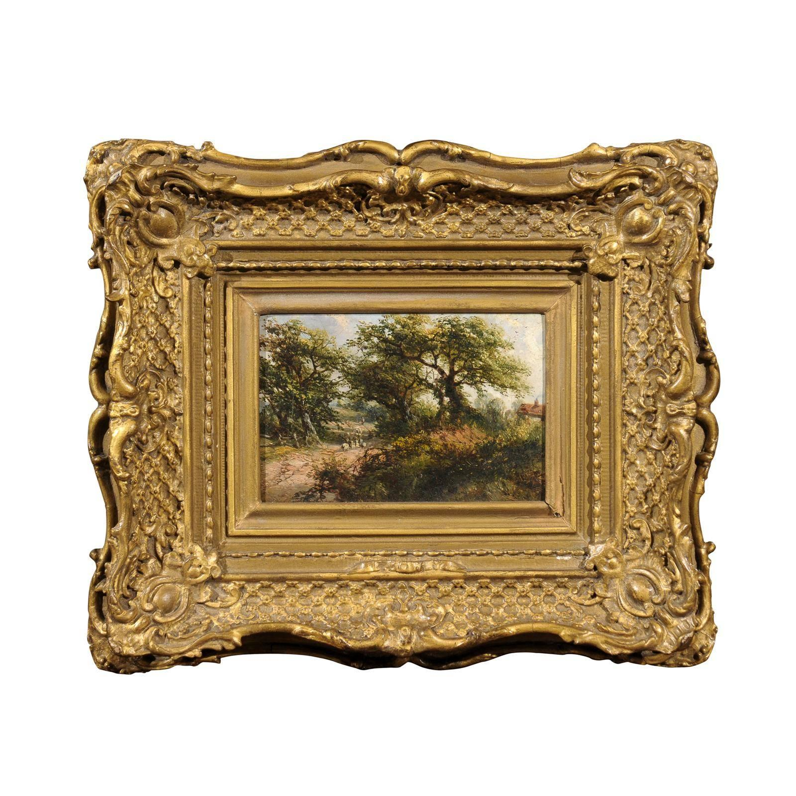 Gilt Framed 19th Century Oil on Canvas Landscape Painting, English